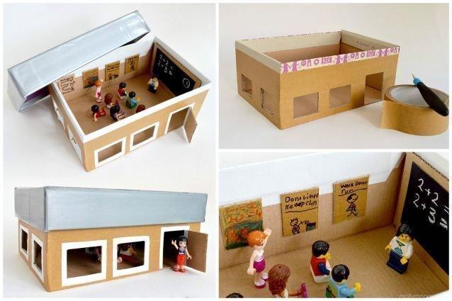 Une maison en bo te de chaussures - Fabriquer une boite a lire ...