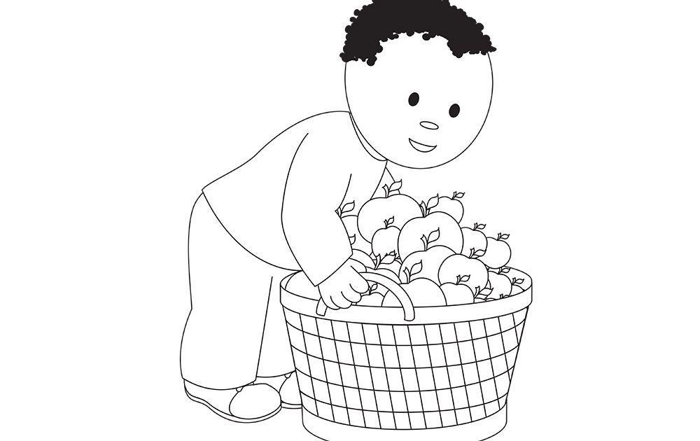 Dessin d 39 un gar on aux pommes activit s coloriage et - Dessin pomme a colorier ...