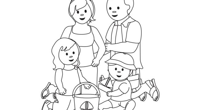 Dessin D'une Famille à La Plage