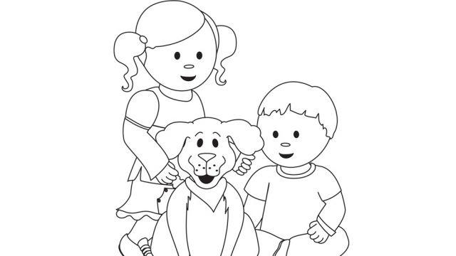 Voici un dessin d enfants avec un chien pr sent par l - Dessin d un chien ...